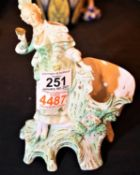 Continental bisque ware lady figurine with nodding bird on her shoulder (weight broken but present).