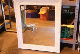 White painted wood vintage type mirror, 48 x 58 cm. Not available for in-house P&P