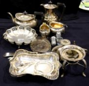 Quantity of mixed silver plate including four piece tea service. P&P Group 3 (£25+VAT for the