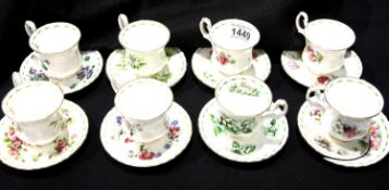 Eight Royal Albert Flower of the Month cups and saucers, one saucer broken, all seconds quality. P&P