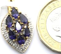 9ct yellow gold tanzanite and diamond pendant, H: 22 mm, 2.1g. P&P Group 1 (£14+VAT for the first