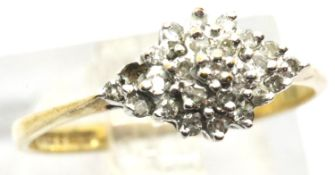 9ct gold diamond cluster ring with one stone missing, 1.4g. P&P group 1 (£14 for the first lot