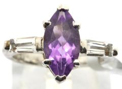 Sterling silver marquise cut amethyst ring with baguette cut topaz shoulders. Size O, 4.7g. P&P
