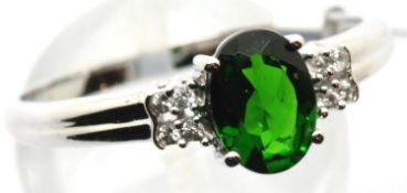 9ct white gold emerald ring with diamond shoulders, size U, 2.2g. P&P Group 1 (£14+VAT for the first
