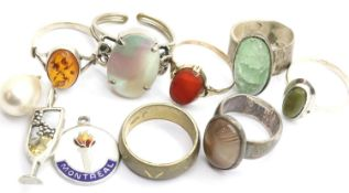 Collection of stone set silver rings, further white metal rings etc. Various sizes. P&P Group 1 (£