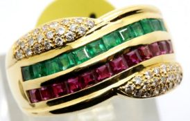 Ladies 18ct gold ruby, emerald and diamond ring, size M, 7.9g. P&P Group 1 (£14+VAT for the first