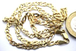 9ct gold curb necklace, L: 44 cm, 9.5g. P&P Group 1 (£14+VAT for the first lot and £1+VAT for