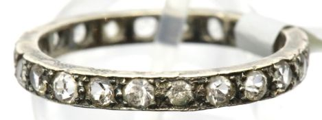 Vintage 9ct gold stone set full eternity ring, size Q, 2.5g. P&P Group 1 (£14+VAT for the first