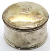 Presumed Continental silver circular box, marks indistinct. D: 5 cm, 54g. P&P Group 1 (£14+VAT for