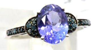9ct white gold tanzanite and blue diamond ring. With certificate, size O, 2.3g. P&P Group 1 (£14+VAT