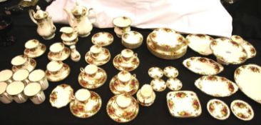 Royal Albert Old Country Roses dinner and tea ware with gilt, mix of first and seconds quality, 74