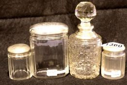 George V pair of silver top glass dressing table jars, Chester assay 1921, a further Walker & Hall