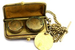 Victorian leather and brass sovereign and half sovereign sprung purse, with Albert chain and