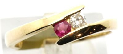 Ladies 9ct gold fancy ruby and diamond twist ring, size N, 3g. P&P Group 1 (£14+VAT for the first