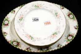 Six Paragon Affection pattern dinner plates, first quality and good condition and a Royal Albert