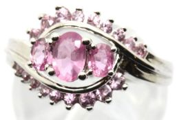 Sterling silver pink tourmaline ring. Size O, 4.0g. P&P Group 1 (£14+VAT for the first lot and £1+