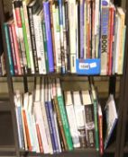 Two shelves of railway related mainly hardback books. P&P on this lot does not fall into our postage