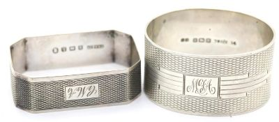 Two Art Deco hallmarked silver napkin rings, combined 47g. P&P Group 1 (£14+VAT for the first lot