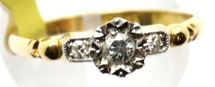 Ladies 18ct gold and platinum antique diamond ring, size N, 2.4g. P&P Group 1 (£14+VAT for the first
