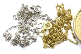 9ct white gold neck chain, knotted and a 9ct yellow gold chain, L: 45 cm, combined 1.4g. P&P Group 1