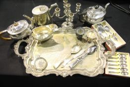 Quantity of silver plate including a WMF teapot, twin handled tray and Walker & Hall boxed