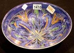 Julia Carter Preston, a large lustre glazed sgraffito decorated bowl, D: 29 cm. P&P Group 3 (£25+VAT