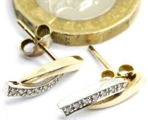 Ladies vintage 9ct gold seven stone diamond stud earrings, 1.7g. P&P Group 1 (£14+VAT for the