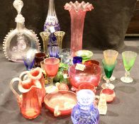 Quantity of antique coloured glassware including Cranberry and silver rimmed scent bottles.
