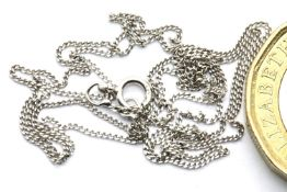 9ct white gold neck chain, L: 44 cm, 0.8g. P&P Group 1 (£14+VAT for the first lot and £1+VAT for