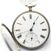 White metal cased open faced pocket watch with key wind bar movement. P&P Group 1 (£14+VAT for the