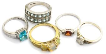 Five 925 silver stone set assorted rings. P&P Group 1 (£14+VAT for the first lot and £1+VAT for
