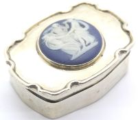 Edward VII hallmarked silver pill box, the hinged cover set with a circular Wedgwood type panel,