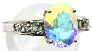 Sterling silver topaz ring with sapphire and topaz set shoulders. Size O/P, 3.7g. P&P Group 1 (£14+