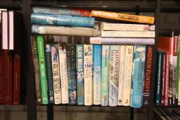 Shelf of mainly hardback cricket related books. P&P Group 3 (£25+VAT for the first lot and £5+VAT