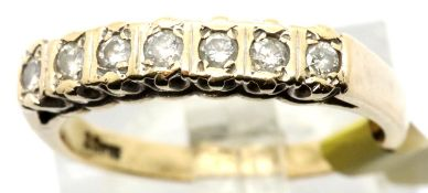 Ladies fancy set 9ct gold diamond half eternity ring, size M, 2.5g. P&P Group 1 (£14+VAT for the