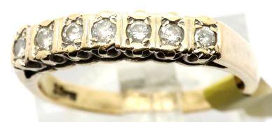 Ladies fancy set 9ct gold diamond half eternity ring, size M, 2.5g. P&P Group 1 (£14+VAT for the