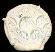 Large unusual Burleigh Ware wall plaque depicting a sailing ship, D: 43 cm. Not available for in-
