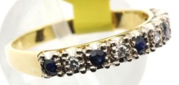 Ladies vintage 18ct gold sapphire and diamond half eternity ring, size O, 3.5g. P&P Group 1 (£14+VAT