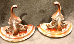 A pair of Victorian carved mahogany wall brackets, each 15 x 18 cm. P&P Group 2 (£18+VAT for the