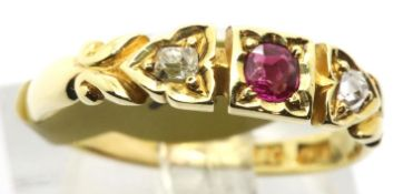 Ladies antique 18ct gold ruby and diamond three stone ring, size N, 2.5g. Condition report: