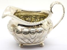George VI hallmarked silver milk jug, London assay 1824, L: 15 cm, 201g. P&P Group 1 (£14+VAT for