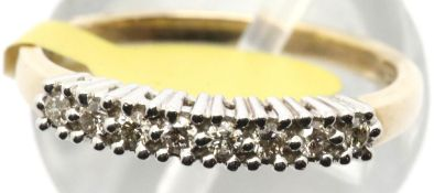 Ladies 9ct diamond half eternity ring, size N, 2.5g. P&P Group 1 (£14+VAT for the first lot and £1+