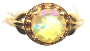 9ct yellow gold Ethiopian opal and red diamond ring, with certificate, size O, 2.7g. P&P Group 1 (£