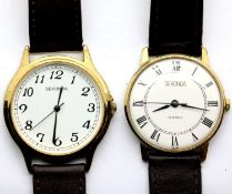 Two gents Sekonda wristwatches, both on faux leather straps and working at lotting. P&P Group 1 (£