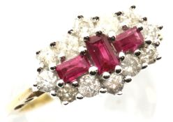 Ladies 9ct gold new old stock ruby and diamond ring, size N, 4.3g. P&P Group 1 (£14+VAT for the