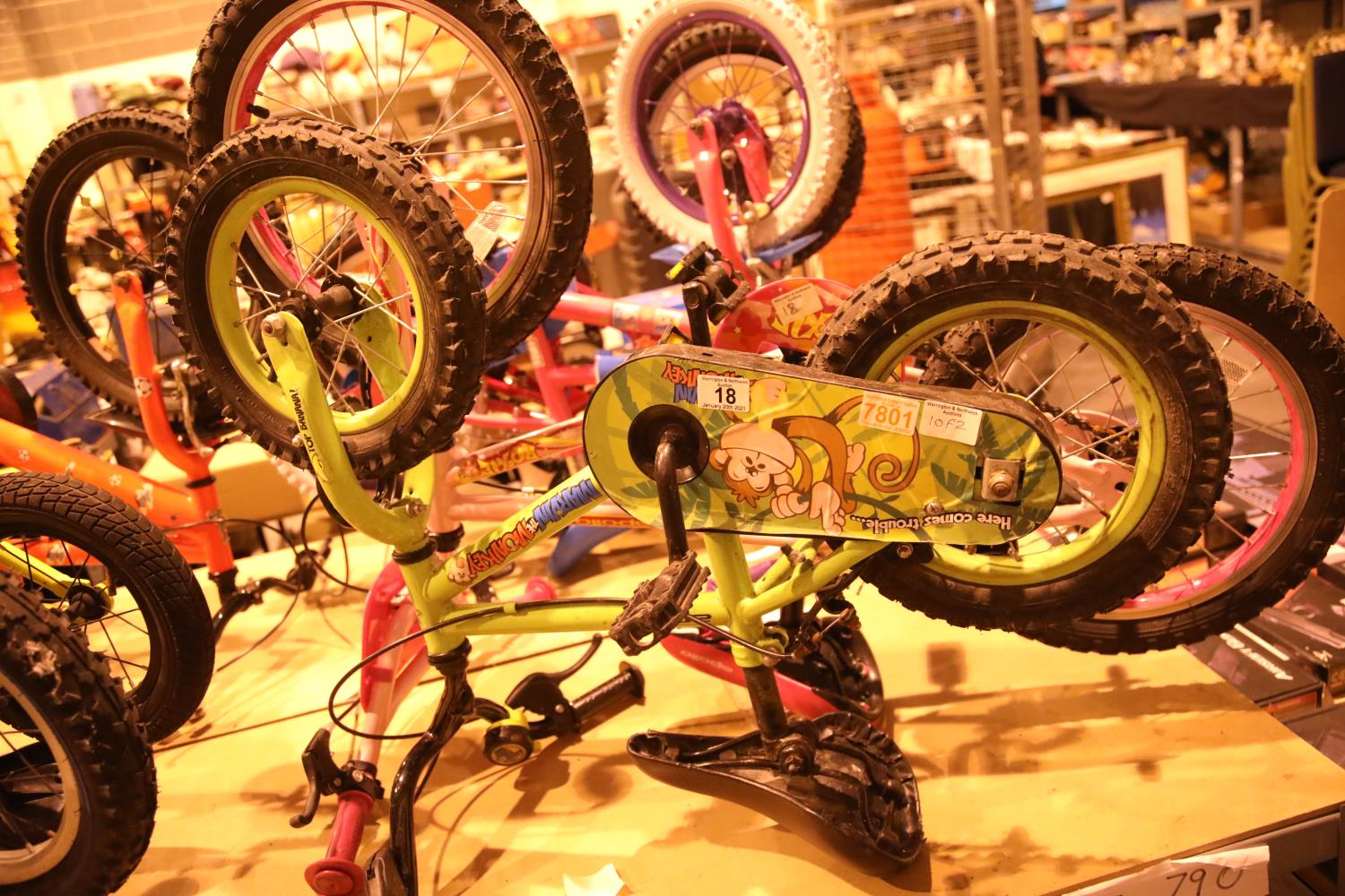 """Child's Apollo Marvin the Monkey 9"""" framed bike, 2-3 years and a girls Apollo 10"""" framed bike. Not"""