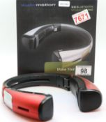 Red Audiomotion X-9 bluetooth speaker stand for iPad/tablet/phone, boxed. P&P Group 2 (£18+VAT for
