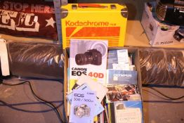 Mixed lot of camera manuals and books including Canon, Bronica, Exakta, Olympus, Zeiss, Nikon etc.