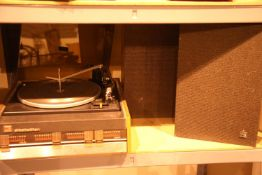 Retro Elizabethan record player and two speakers. Not available for in-house P&P, contact Paul O'Hea
