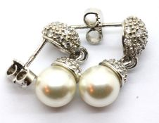 Silver fancy stone set drop earrings. Drop length 2cm. P&P Group 1 (£14+VAT for the first lot and £